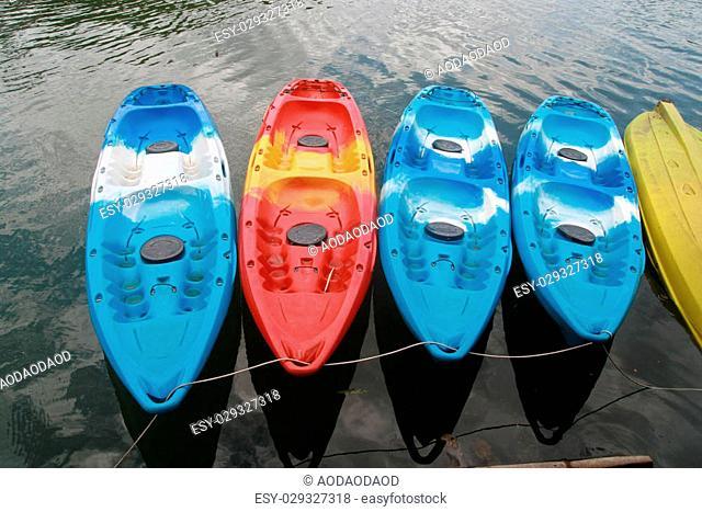 kayaks in lake