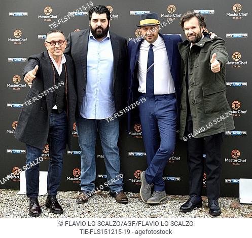 The Chefs Bruno Barbieri, Antonino Cannavacciuolo, Joe Bastianich, Carlo Cracco during the photo call of the fifth edition of tv programme Masterchef Italy