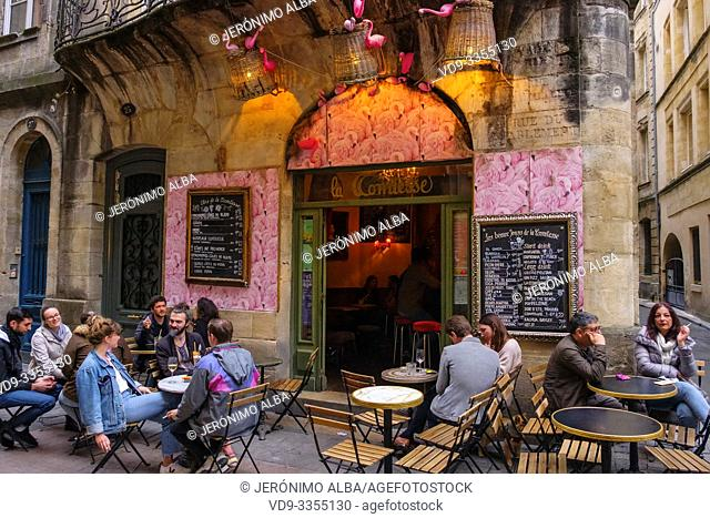 Typical and romantic restaurant in the historic center. Bordeaux, Gironde. Aquitaine region. France Europe