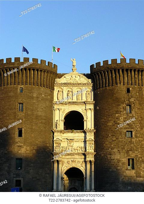Naples (Italy). Facade of the Castel Nuovo in the city of Naples