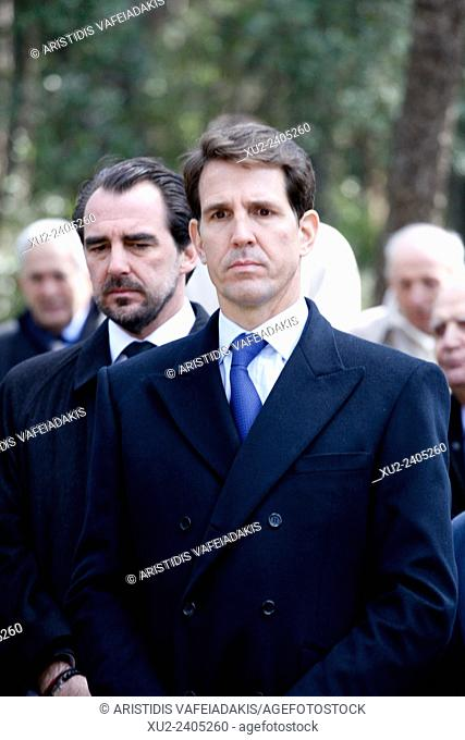 Prince NIKOLAOS(L) and Prince PAVLOS of Greece attend the ceremony. The annual memorial service in honour of King Pavlos and Queen Frederika was held earlier...