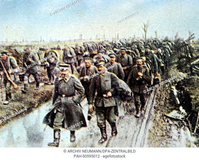 The contemporary colorized German propaganda photo shows German non-combatant soldiers on the way to the Siegfried Front (from Arras through St