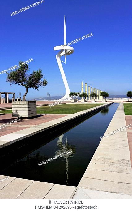 Spain, Catalonia, Barcelona, Montjuic, the Torre Telefonica (telecommunications tower) by the architect Santiago Calatrava