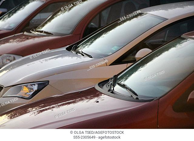 Cars parked in the street parking, Esplugues de Llobregat, Barcelona province, Catalonia, Spain
