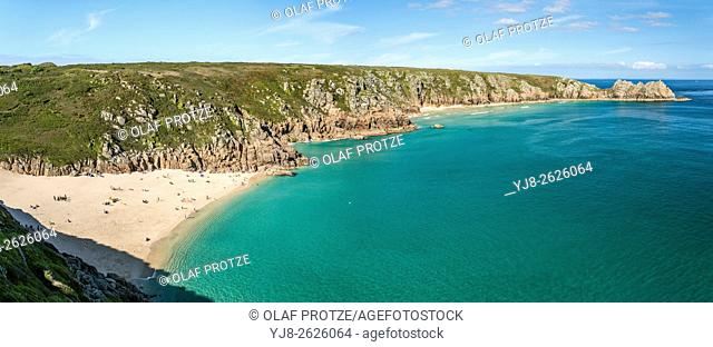 View over Porthcurno Beach seen from Minack Open Air Theatre, Cornwall, England, UK