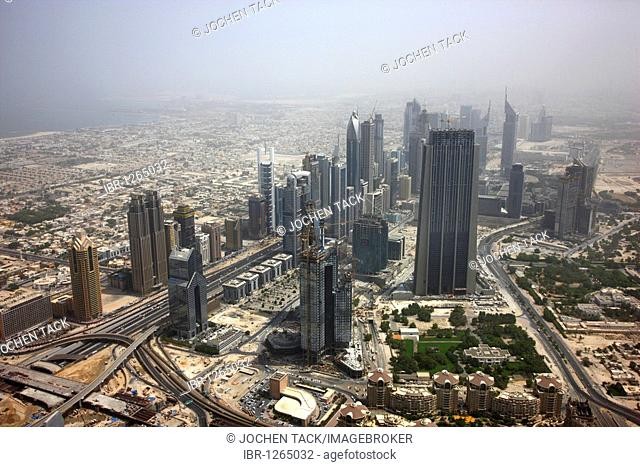View from the Burj Dubai on the skyline of the buildings on Sheikh Zayed Road, Downtown Dubai, United Arab Emirates, Middle East