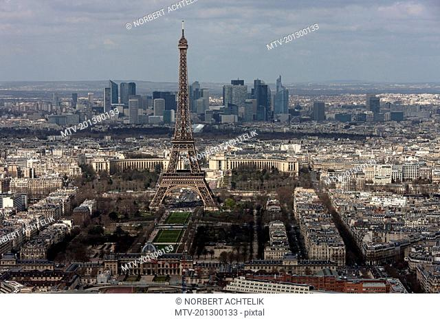 High angle view of Eiffel Tower in city, Paris, France