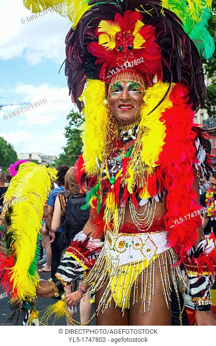 Paris, France, Colourful Transvestite in Outrageous Costume in Annual Gay Pride LGBT Parade