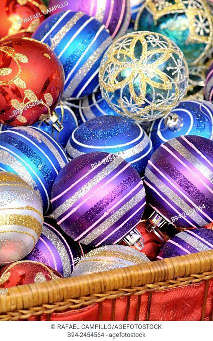 Christmas balls for sale at Santa Llúcia Christmas market, Barcelona. Catalonia, Spain