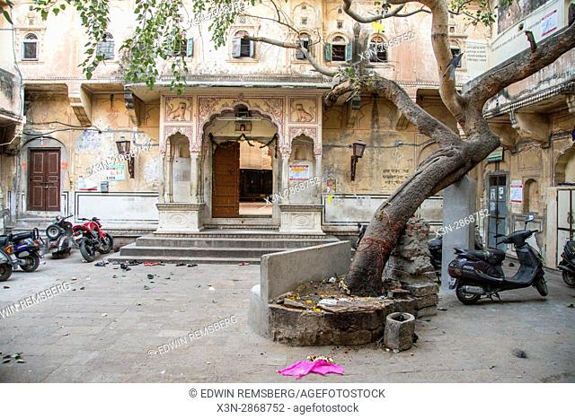 Johri Bazaar; Courtyard in front of stone building in Jaipur, India