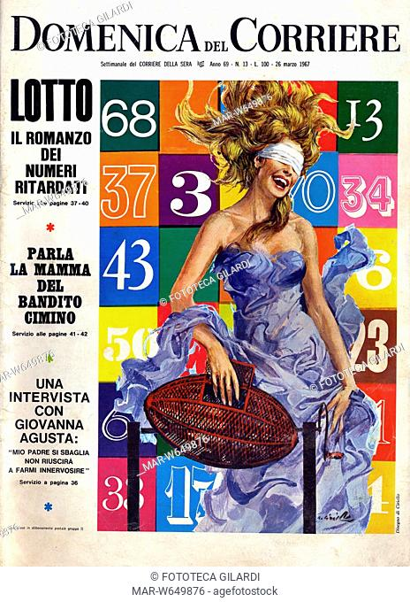 LOTTO 'il romanzo dei numeri ritardatari' illustrazione di Ciriello, raffigurante la Fortuna come Dea Bendata, e un tabellone di numeri del Lotto