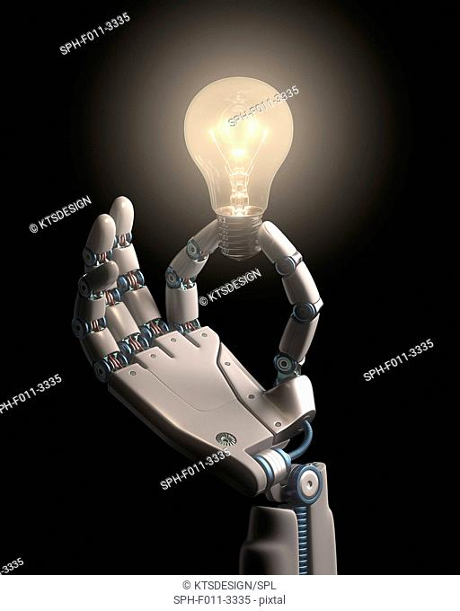 Robotic hand holding a light bulb, computer illustration