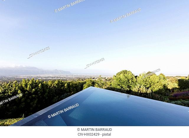 Modern, geometric infinity pool with sunny view under blue sky