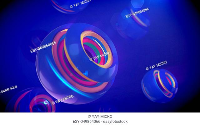 An arty 3d illustration of nested spheric objects of rainbow colors inserted in cup looking semi-spheres with splits in the blue backdrop