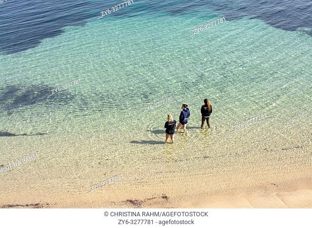 PALAU, COSTA SMERALDA, SARDINIA, ITALY - MARCH 7, 2019: Three young women in knee deep water on sandy beach watch their smartphones on March 7, 2019 in Palau
