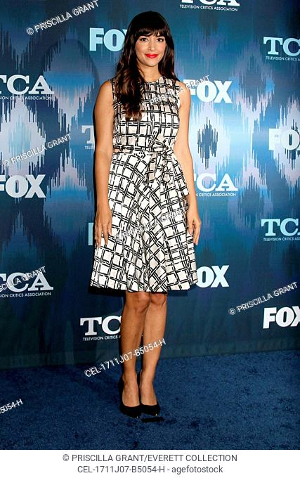 Hannah Simone (wearing a Josie Natori dress) at arrivals for 2017 FOX TCA Winter Press Tour, The Langham Huntington, Pasadena, CA January 11, 2017