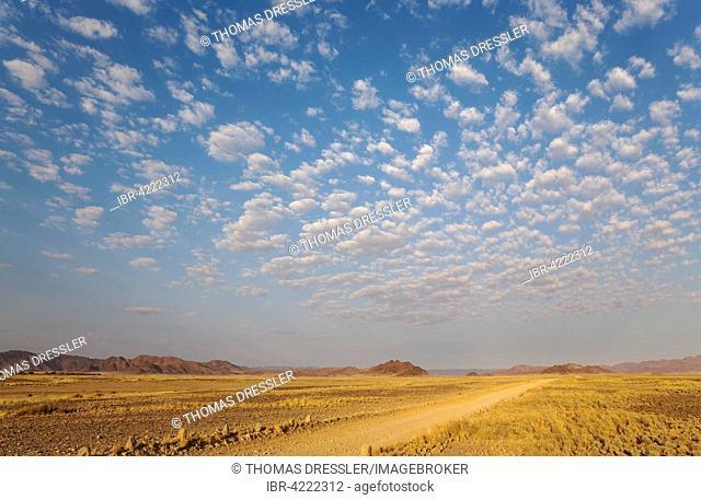 Gravel road on arid plain, isolated mountain ridges, fluffy clouds at edge of Namib Desert, evening light, Kulala Wilderness Reserve, Namibia