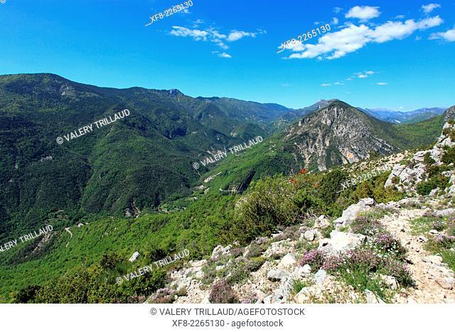 Mountainous landscape of the Prealpes d'Azur regional park, Alpes-Maritimes, Provence-Alpes-Côte d'Azur, France