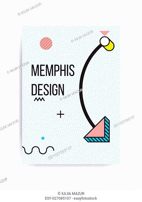Colorful trend Neo Memphis geometric pattern juxtaposed with bright bold blocks of color zig zags, squiggles, erratic images