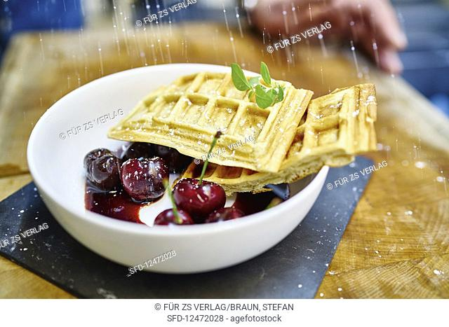 Belgian waffles with balsamic cherries