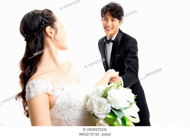 Romance of the bride and groom