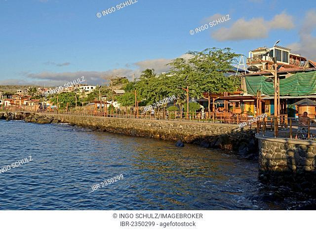 View from the boat to the harbour of Puerto Baquerizo Moreno, San Cristobal Island, Galapagos, Ecuador, South America