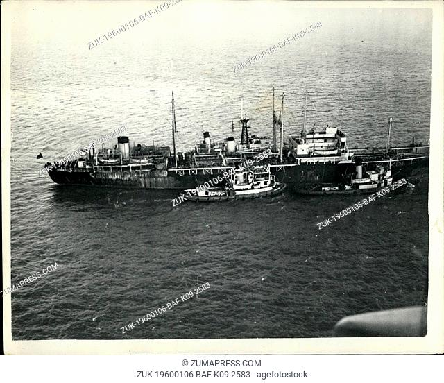 1967 - Burning Navy tanker towed back into Harbour 'Wave Victor ' on way to Swansea. Two tugs towed the burning Naval tanker Wave Victor into Swansea today