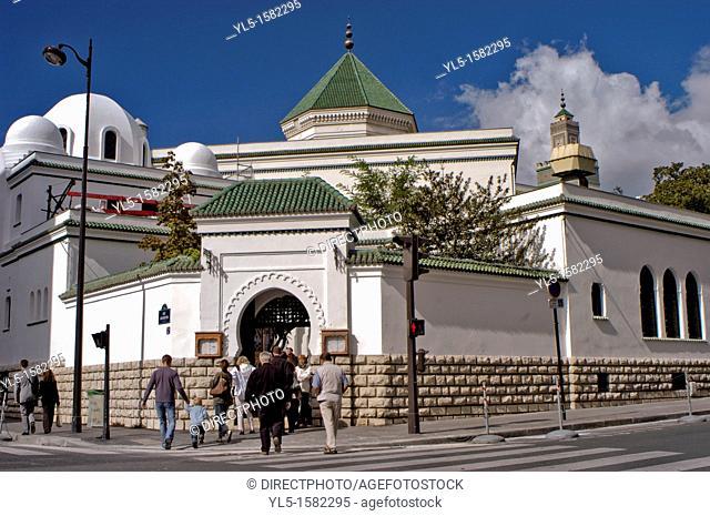 PARIS, FRANCE - Café Maure de la Mosquée de Paris, Arabian Tea Room at the Paris Mosque  39, Rue Geoffroy Saint-Hilaire  Entrance