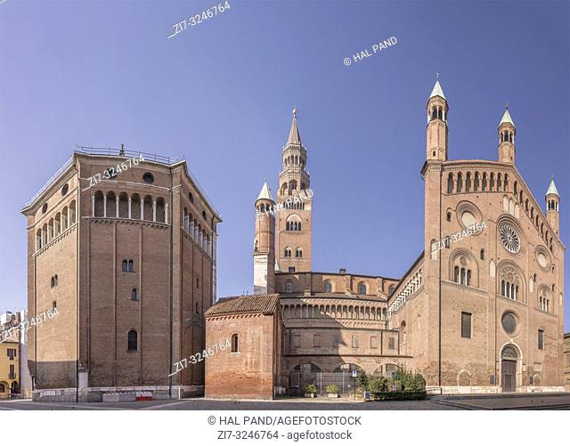 view of Romanseque Cathedral south side, shot in bright winter light at Cremona, Lombardy, Italy