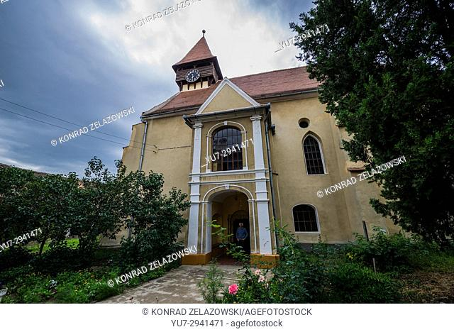 Exterior of Evangelical fortified church in Miercurea Sibiului town of Sibiu County in southern Transylvania, Romania
