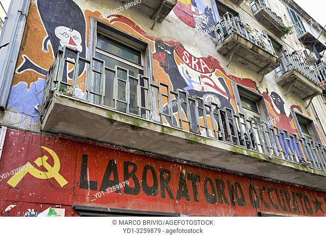 Naples Campania Italy. Social Center building occupied by leftists protestants
