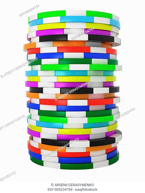 Colored Casino or roulette chips stack isolated