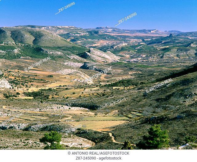 Taibilla River valley and Nerpio village. Albacete province. Spain