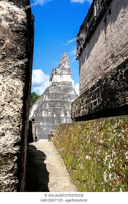 View of pyramid through walkway