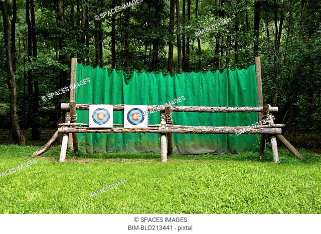 Targets on fence at archery range