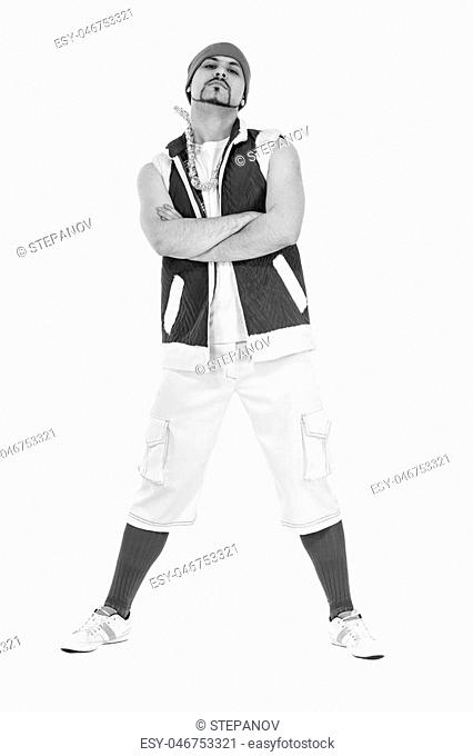 colorless portrait of friendly man dressed like a funny gnome dancing Isolated on white background in full length