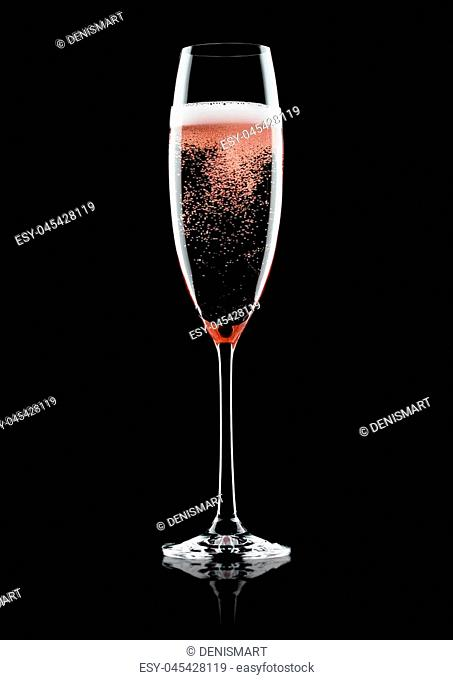 Rose pink champagne glass with bubbles on black background with reflection