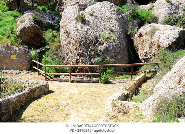 Cueva del Agua in gypsum karst. Sorbas Natural Park, Almeria, Andalusia, Spain