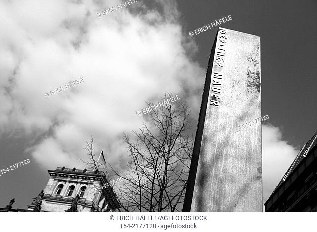Memorial column of the Berlin Wall in front of the Reichstag in Berlin