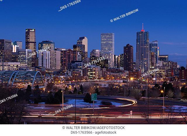 USA, Colorado, Denver, city view from the west, dusk