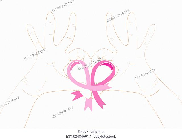 Breast cancer awareness concept illustration: ribbon symbol and human hands in heart shape. EPS10 vector file with transparency organized in layers for easy...
