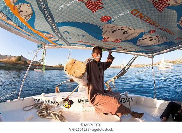 Egypt, Aswan. Felucca sailing on the Nile near Aswan. - 01/01/2011