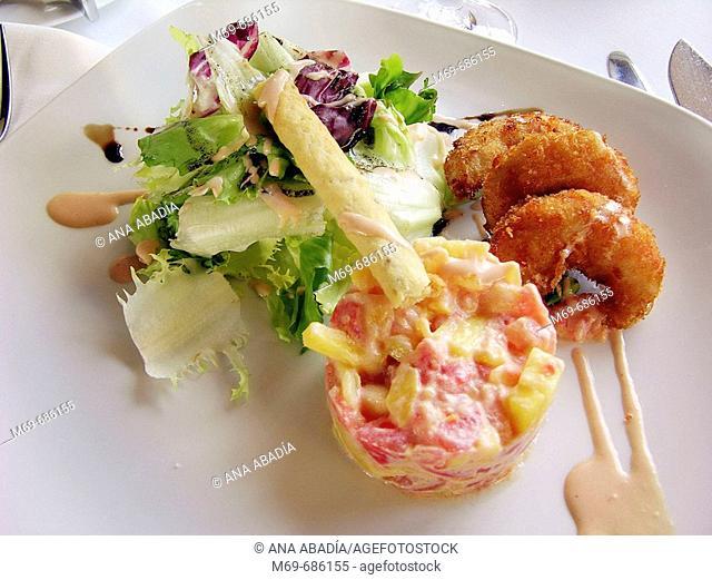 Mango and prawns salad