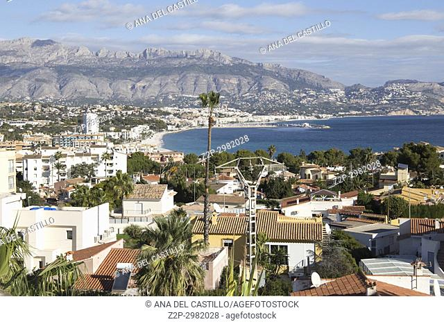 Aerial view of Albir coast in Alfaz del Pi. Alicante province, Valencian Community, Spain
