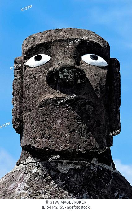 Head of the Mata Ote Vaikava Moai, Hanga Roa, Unesco World Heritage, Rapa Nui National Park, Easter Island, Chile