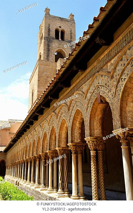 Cloisters with decorated coloumns of Monreale Cathedral - Palermo - Sicily