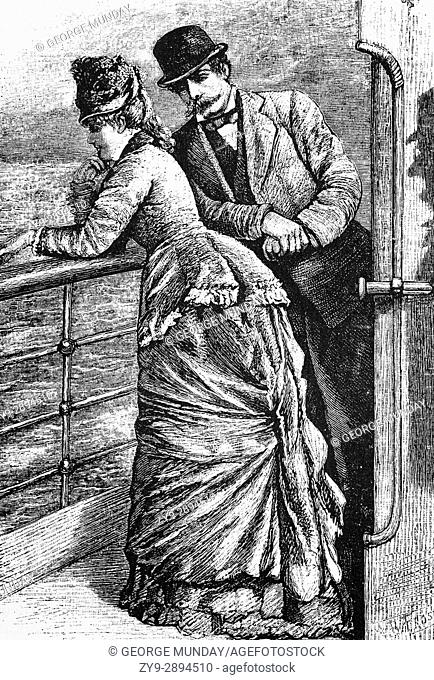 """1879: A couple talking on the deck of the Cunard SS """"""""Scythia"""""""" as it crosses the Atlantic Cocan en route for; 19TH CENTURY; New York; USA"""