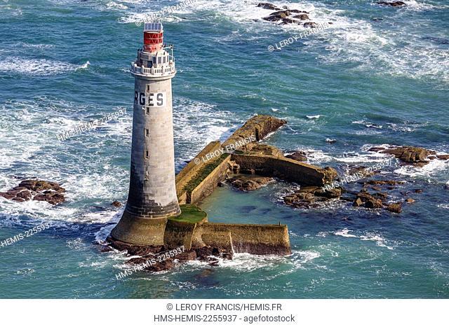 France, Vendee, Les Sables d'Olonne, les Barges lighthouse (aerial view)