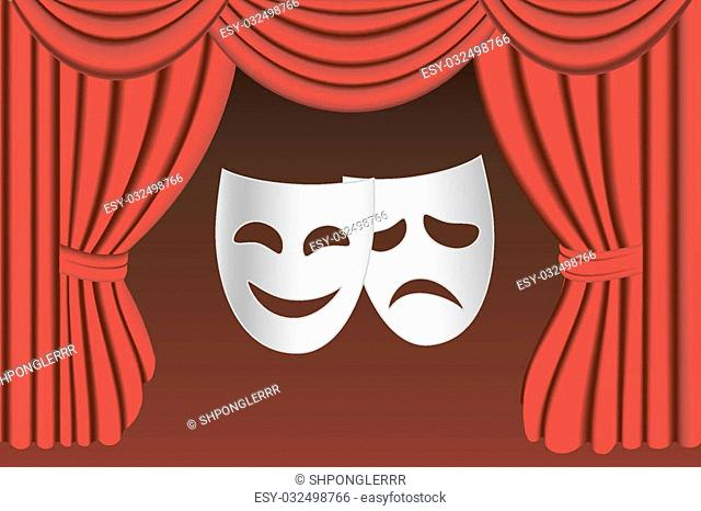 Classical white theater masks and classical red theater curtains