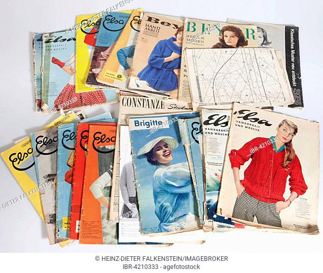 Front pages of old fashion magazines from the 1950s, Germany